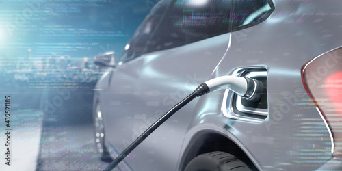 Fotografie, Obraz Power supply connect to electric vehicle to charge the battery - 3d rendering