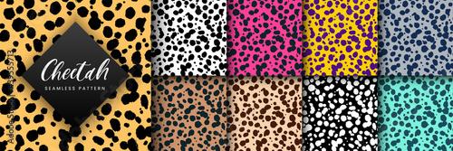 Fotografia Vector Trendy cheetah skin seamless pattern set