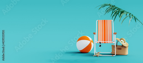 Canvastavla Orange beach chair with summer accessories on turquoise blue background 3D Rende