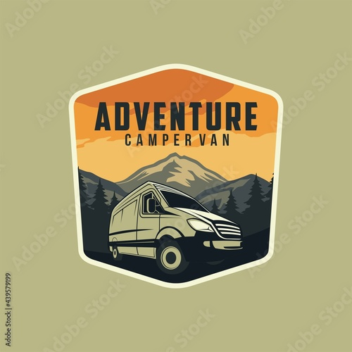 Fotografiet Camper van or recreational vehicle (RV) adventure car logo template, Travel and leisure vecktor design