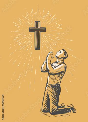 Fototapeta Man praises God in prayer