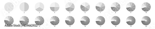 Segment infographic. Pie chart icons. 2,3,6,10,20 circle section graph. Wheel round diagram part symbol. Five phase, six circular cycle. Segment slice sign. Geometric element. Vector illustration