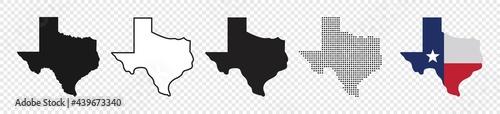 Fotografia Texas map icon set, Texas map isolated on transparent background, vector illustr