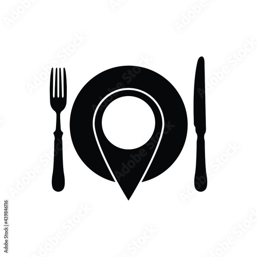Fotografie, Obraz map pointer with  food icon. food sign