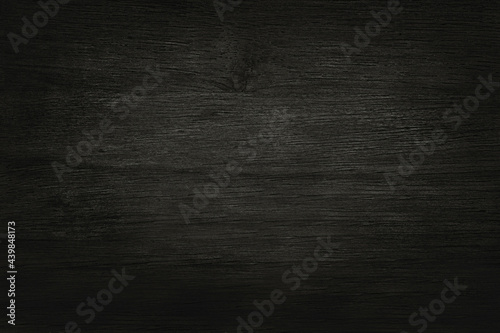 Obraz na plátně Black wooden wall background, texture of dark bark wood with old natural pattern for design art work, top view of grain timber