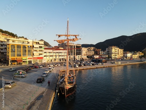 Aerial View Old Wooden Antique Pirate Ship With British, United kingdom Of Great Britain And Northern Ireland Flag In Port Of Igoumenitsa Fototapeta