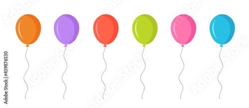 Valokuva Party colorful balloon icons set. Holiday birthday.