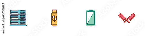Billede på lærred Set Server, Data, Web Hosting, USB flash drive and shield, Smartphone, mobile phone and Crossed meat chopper icon