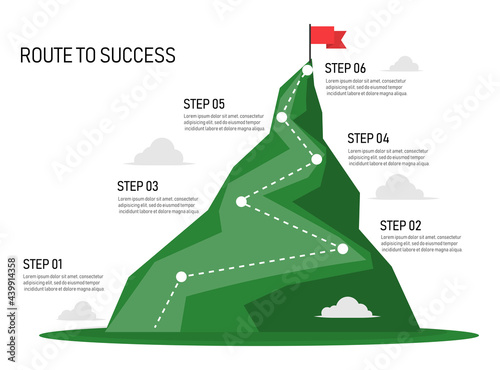 Canvas-taulu Six step mountain infographic