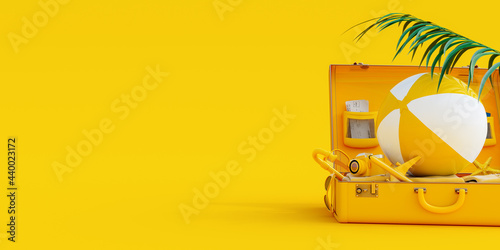 Suitcase with summer accessories on yellow background 3D Rendering, 3D Illustration
