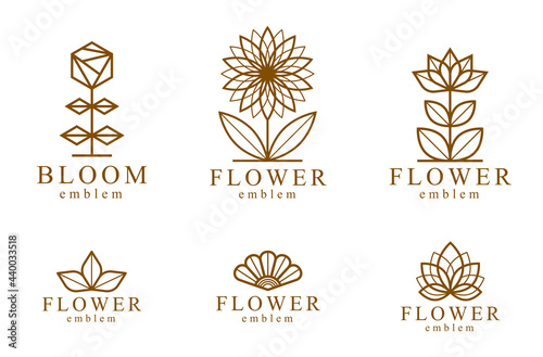 Fotografia Geometric linear style vector flower logos or emblems set, sacred geometry floral symbols line drawing emblems collection, blossoming flower hotel or boutique or jewelry logotypes