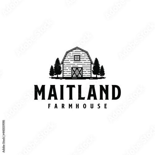 Valokuva Vintage Farm House Barn Maitland Acres Logo