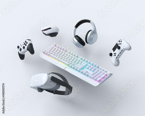 Canvas-taulu Flying gamer gears like keyboard, joystick, headphones, VR glasses, microphone