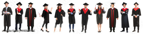 Photo Young male student in bachelor robe and with diploma on white background