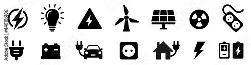 Valokuva Electricity icon set