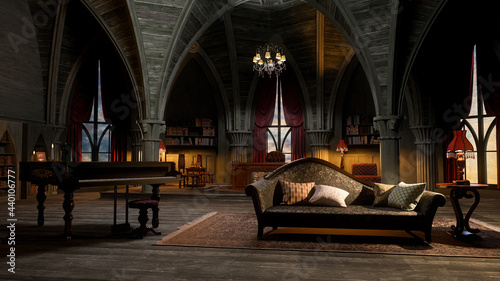Vászonkép 3D illustration of a castle or palace interior room in gothic style with grand piano and sofa
