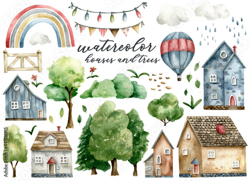 Fotografie, Obraz Watercolor houses, trees, rainbow and other elements of country life, hand-drawn set, isolated on white background