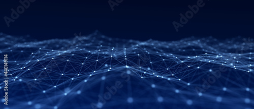 Abstract wave with moving dots and lines. Flow of particles. Cyber technology illustration. 3d rendering