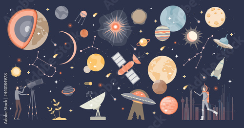 Photo Cosmos collection set and space with stars and galaxies tiny person concept