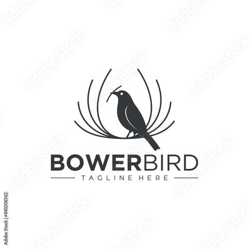 Fotomural bird logo, weaver bird logo, bower bird logo vector