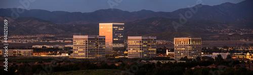 Canvas Print Twilight panoramic view of the skyline of downtown Irvine, California, USA