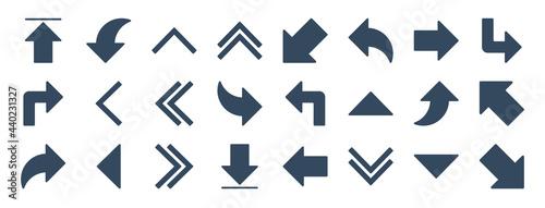 Tela set of 24 arrow web icons in glyph style such as upward arrow, turn left, fast forward, down arrows, down right arrow, upward vector illustration