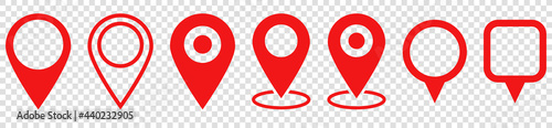 Fotografia Set of red map pin icons