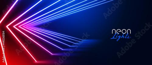 Slika na platnu futuristic neon light room with led lines