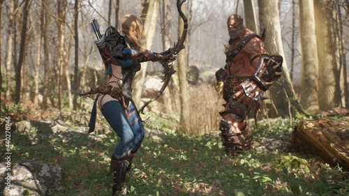 Photo An elven girl archer and a formidable giant orc prepare for battle