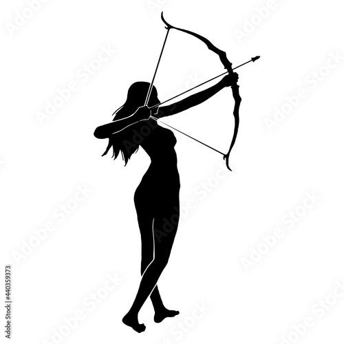 Canvas Print female archer  vector silhouette illustration