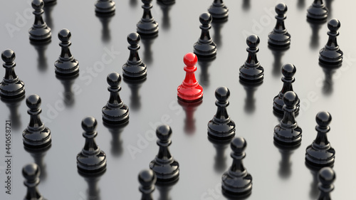 Fotografiet Leadership concept, red pawn of chess, standing out from the crowd of black pawns, on white background