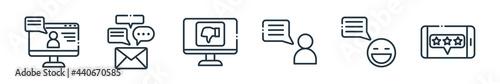 Valokuva outline set of chatting and communication line icons