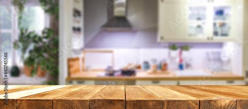 Fotografía Desk of free space and kitchen interior