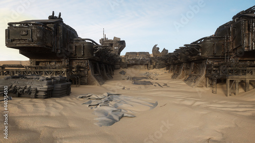 Obraz na plátně 3D rendering of an abandoned ruin of an outpost in the desert of a remote alien planet