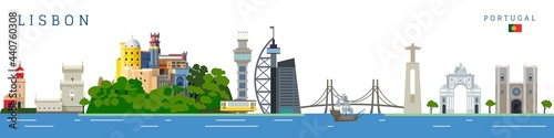 Lisbon cityscape with famous touristic landmarks. Travel to Lisbon colorful vector illustration.