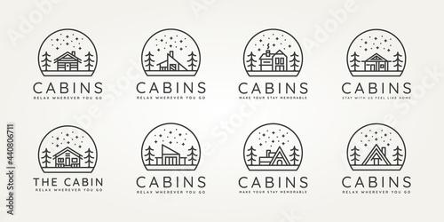 Slika na platnu set of cabins minimalist minimalist line art icon logo template vector design illustration