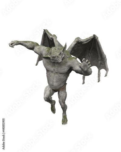 Valokuva 3D illustration of a fantasy flying stone Gargoyle isolated on a white background