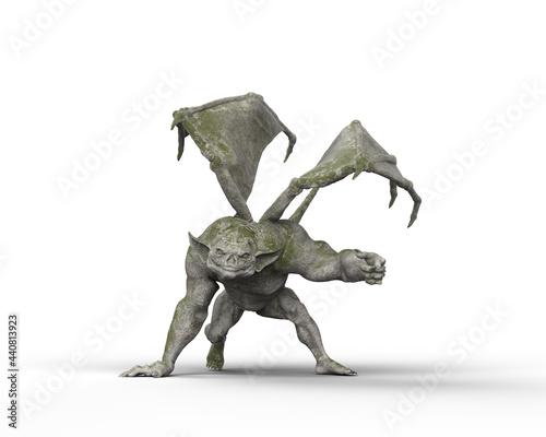 Obraz na plátne 3D illustration of a fantasy Gargoyle stone monster isolated on a white background