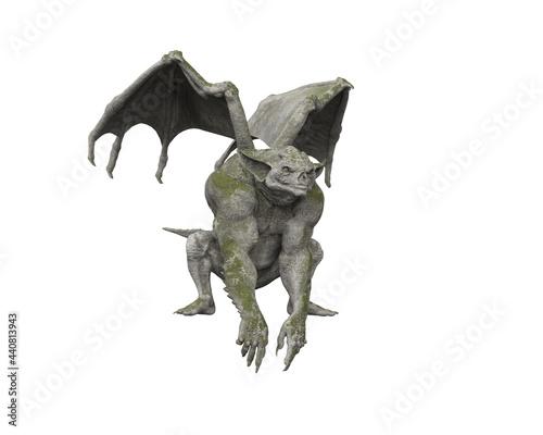 Obraz na plátne 3D illustration of a gothic stone Gargoyle statue isolated on a white background