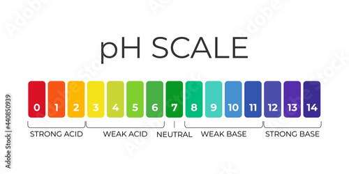 Foto pH value scale chart for acid-alkaline solution