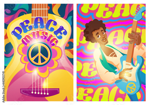 Photo Peace music posters with hippie sign and man with guitar