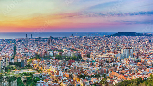 Barcelona Spain, high angle view panorama sunrise city skyline from Bunkers del Carmel