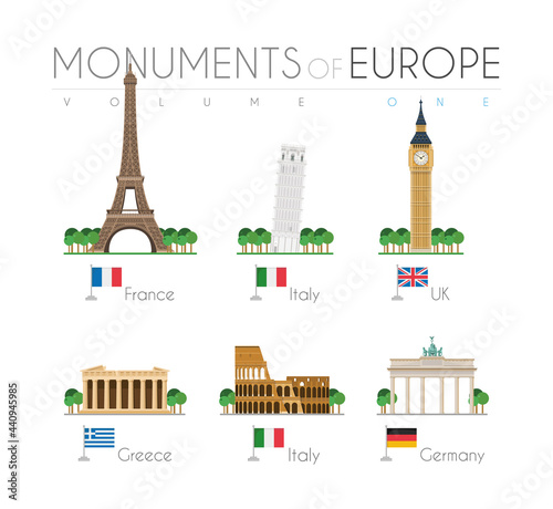 Monuments of Europe in cartoon style Volume 1: Eiffel Tower (France), Pisa Leaning Tower (Italy), Big Ben (UK), Parthenon (Greece), Coloseum (Italy) and Brandenburg Gate (Germany) Fototapeta