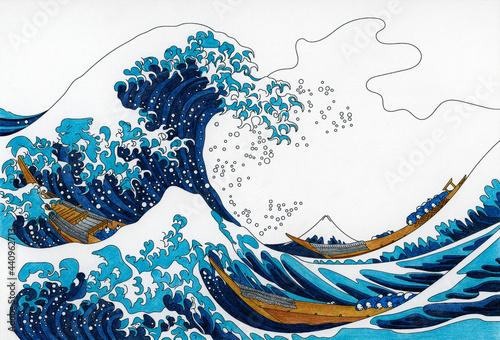 Fotografía The Great Wave of Kanagawa (1829–1833) by Katsushika Hokusai: adult colori