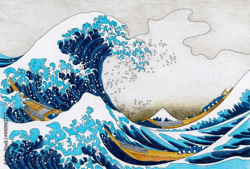 Foto The Great Wave of Kanagawa (1829–1833) by Katsushika Hokusai: adult colori
