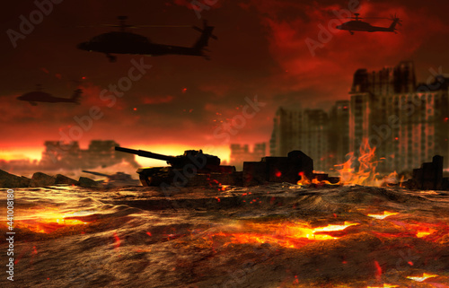 Wallpaper Mural 3d render illustration of burning battlefield with tanks and helicopters flying on ruined city background, backdrop artwork
