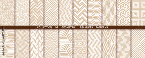 Fotografie, Obraz Geometric set of seamless gold and white patterns