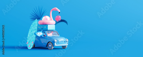 Blue car with luggage and beach accessories on blue background. Summer travel concept 3D Render 3D illustration