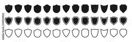 Fotografie, Obraz Shield black icons set