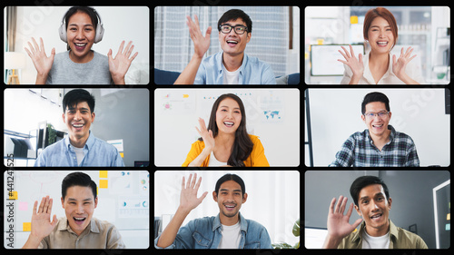 Canvas Group of young Asian business people, office coworker on video online conference call, remote team meeting